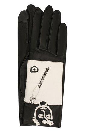 Женские кожаные перчатки AGNELLE черно-белого цвета, арт. ELVIS/S | Фото 1