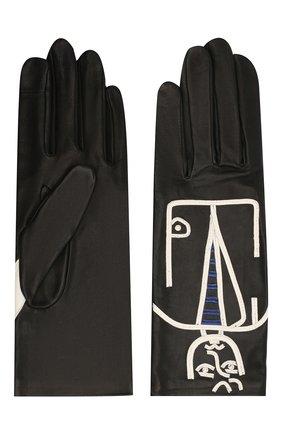 Женские кожаные перчатки AGNELLE черно-белого цвета, арт. ELVIS/S | Фото 2