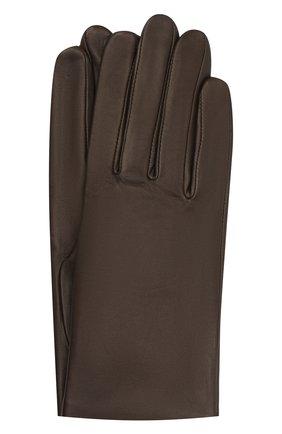 Женские кожаные перчатки с подкладкой из шелка AGNELLE темно-коричневого цвета, арт. KATE/S | Фото 1