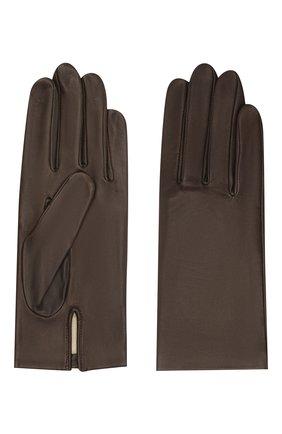 Женские кожаные перчатки с подкладкой из шелка AGNELLE темно-коричневого цвета, арт. KATE/S | Фото 2