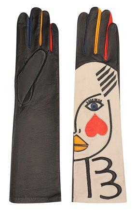 Женские кожаные перчатки AGNELLE разноцветного цвета, арт. L_AUTRE_M0I/S | Фото 2