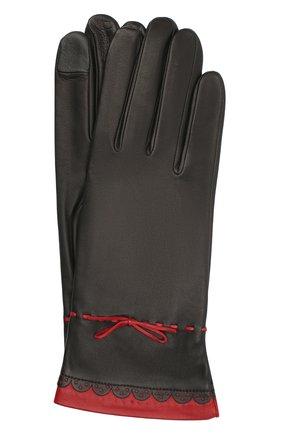 Женские кожаные перчатки AGNELLE черного цвета, арт. R0SAM0NDE/S | Фото 1