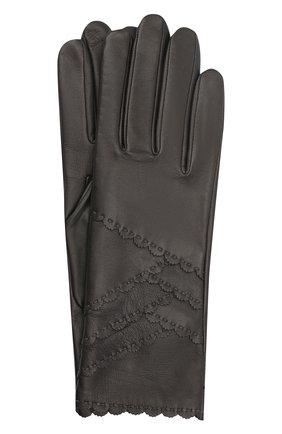 Женские кожаные перчатки AGNELLE темно-серого цвета, арт. ZENIA/S | Фото 1