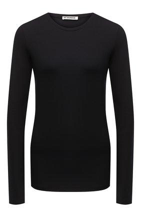 Женская хлопковый лонгслив JIL SANDER черного цвета, арт. JPPR705500-WR257108 | Фото 1
