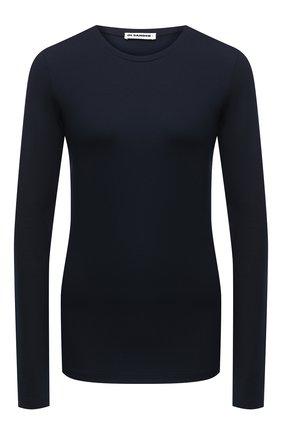 Женская хлопковый лонгслив JIL SANDER темно-синего цвета, арт. JPPR705500-WR257108 | Фото 1