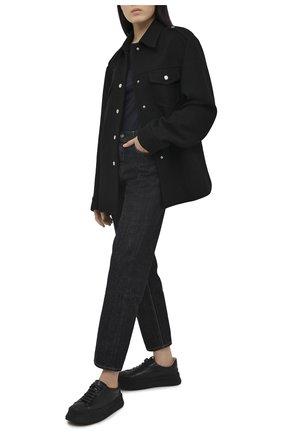 Женская хлопковый лонгслив JIL SANDER темно-синего цвета, арт. JPPR705500-WR257108 | Фото 2