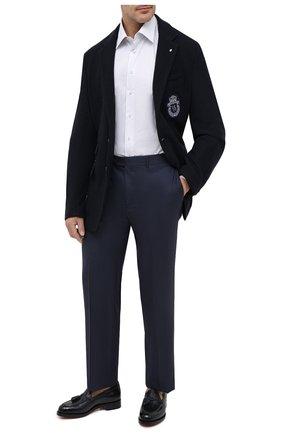 Мужская хлопковая сорочка ZILLI белого цвета, арт. MFU-1803-1216/0003/45-49 | Фото 2 (Длина (для топов): Стандартные; Материал внешний: Хлопок; Рукава: Длинные; Мужское Кросс-КТ: Сорочка-одежда; Стили: Классический; Принт: Полоска; Случай: Формальный; Рубашки М: Classic Fit; Big sizes: Big Sizes; Манжеты: На пуговицах; Воротник: Кент)