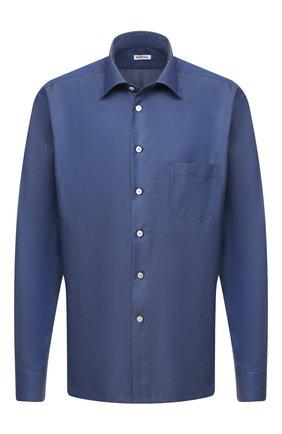 Мужская хлопковая рубашка KITON темно-синего цвета, арт. UMCNERH0740905/45-50   Фото 1 (Рукава: Длинные; Материал внешний: Хлопок; Длина (для топов): Стандартные; Случай: Повседневный; Стили: Кэжуэл; Рубашки М: Regular Fit; Big sizes: Big Sizes; Воротник: Кент)