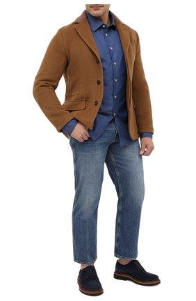 Мужская хлопковая рубашка KITON темно-синего цвета, арт. UMCNERH0740905/45-50   Фото 2