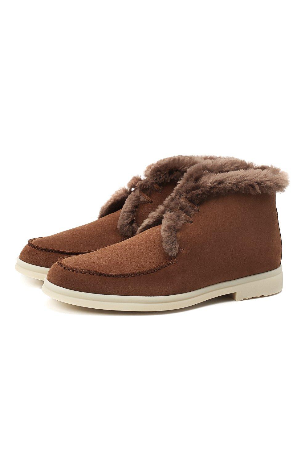 Мужские замшевые ботинки walk and walk LORO PIANA светло-коричневого цвета, арт. FAE5014 | Фото 1
