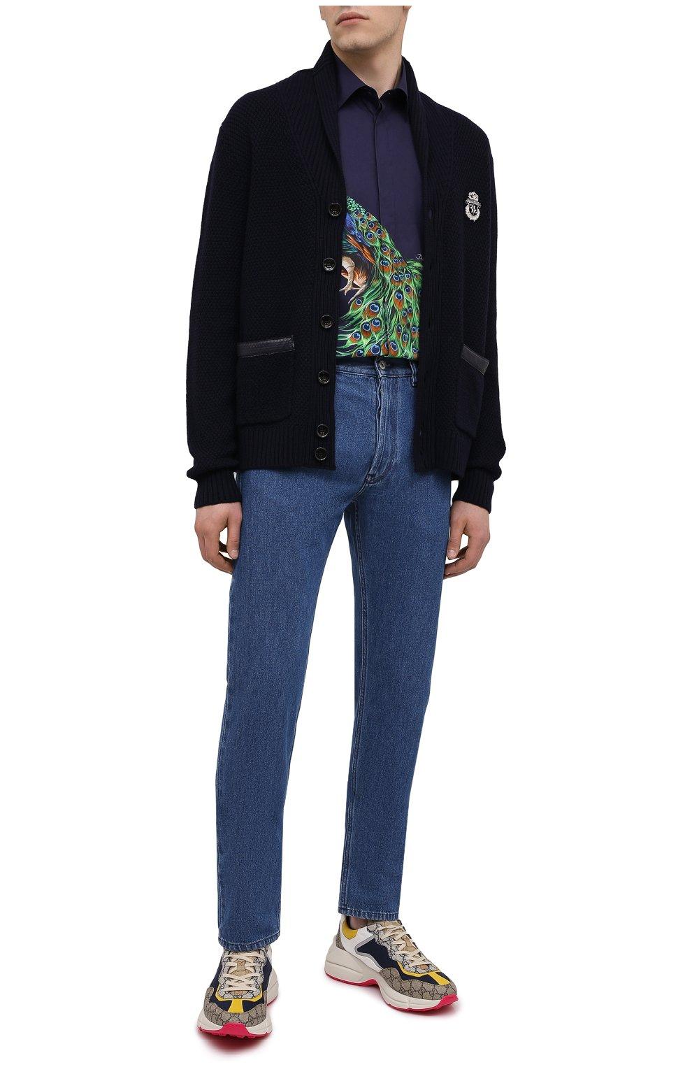 Мужская хлопковая рубашка DOLCE & GABBANA синего цвета, арт. G5GB3T/HP57Z | Фото 2