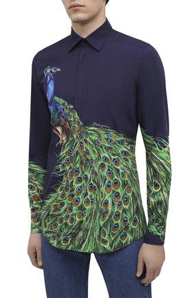 Мужская хлопковая рубашка DOLCE & GABBANA синего цвета, арт. G5GB3T/HP57Z | Фото 3