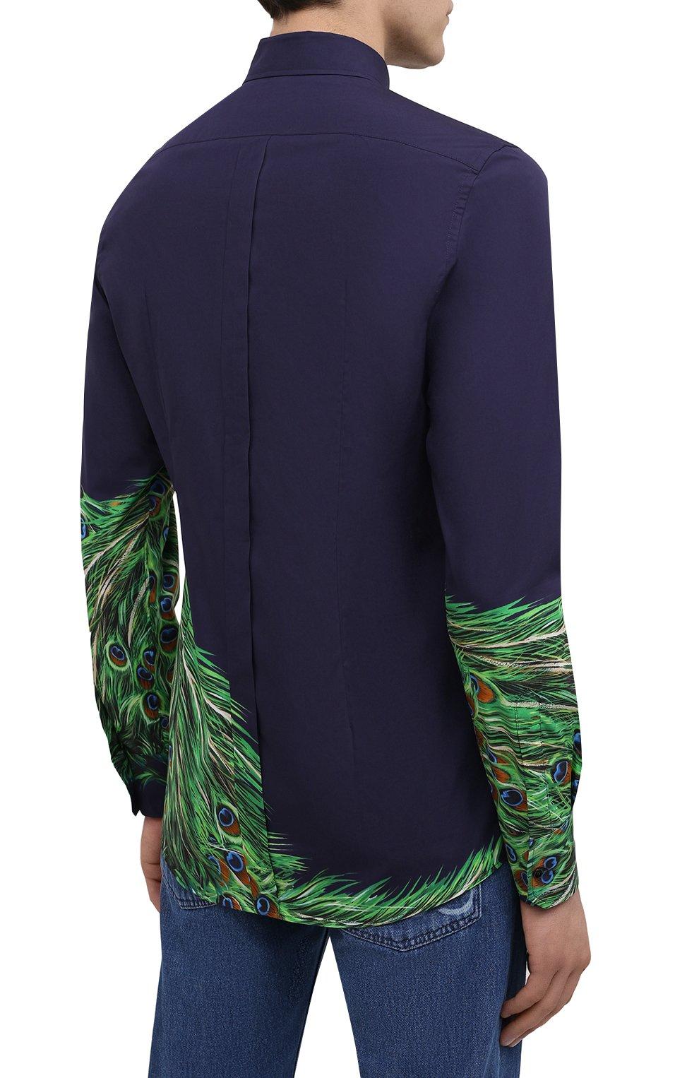 Мужская хлопковая рубашка DOLCE & GABBANA синего цвета, арт. G5GB3T/HP57Z | Фото 4