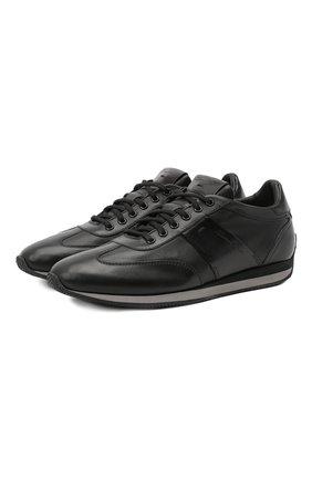 Мужские кожаные кроссовки SANTONI черного цвета, арт. MBLC21384NGNRTNWN50   Фото 1