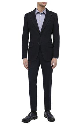 Мужской кожаные дерби SANTONI темно-синего цвета, арт. MC0S11168UL3IPILU48 | Фото 2