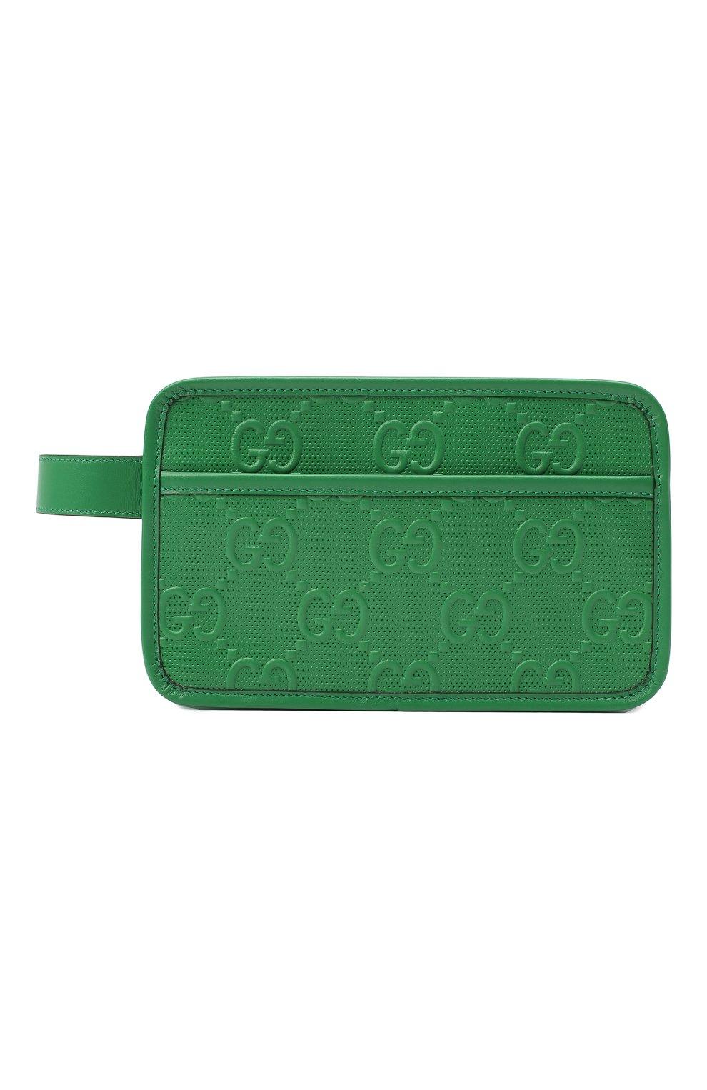 Мужской кожаный несессер GUCCI зеленого цвета, арт. 627470/1W3AN   Фото 1 (Материал: Натуральная кожа)
