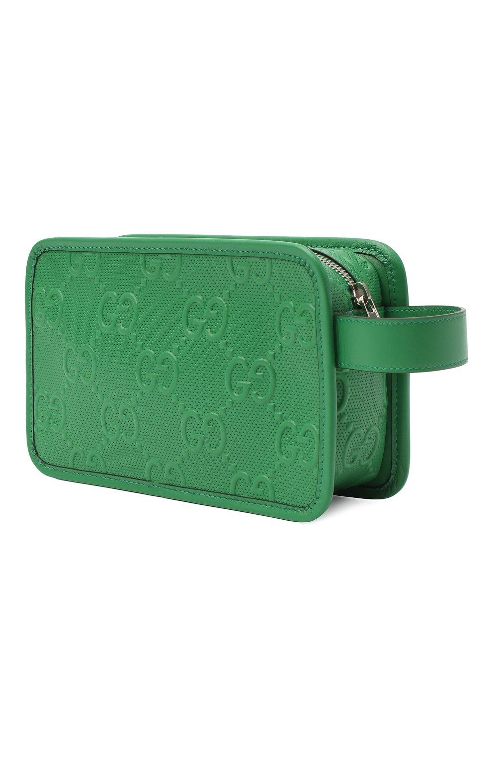 Мужской кожаный несессер GUCCI зеленого цвета, арт. 627470/1W3AN   Фото 2 (Материал: Натуральная кожа)