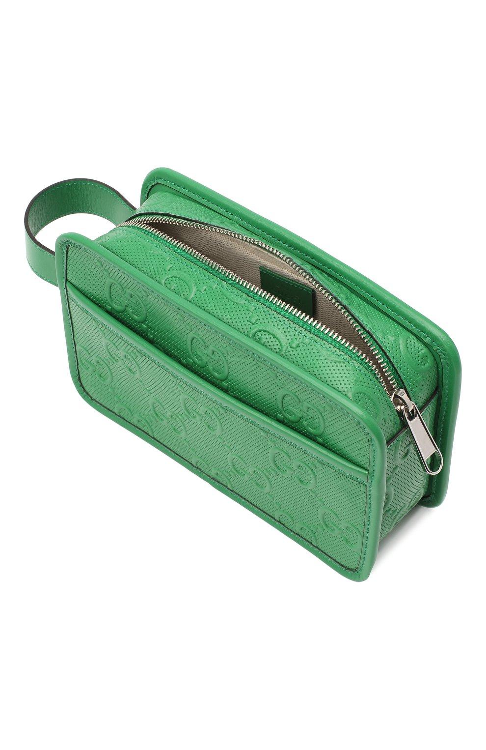 Мужской кожаный несессер GUCCI зеленого цвета, арт. 627470/1W3AN   Фото 3 (Материал: Натуральная кожа)