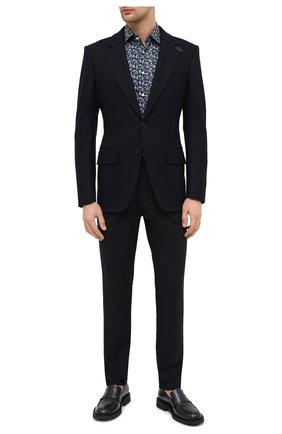 Мужская хлопковая рубашка BAGUTTA темно-синего цвета, арт. 380_EBL/10618 | Фото 2