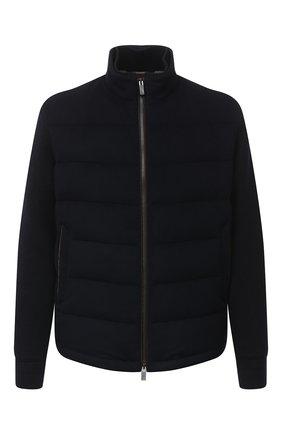 Мужская пуховая куртка ERMENEGILDO ZEGNA темно-синего цвета, арт. U7T02/TMIL14 | Фото 1 (Материал утеплителя: Шерсть; Материал внешний: Шерсть; Рукава: Длинные; Длина (верхняя одежда): Короткие; Мужское Кросс-КТ: Верхняя одежда, Пуховик-верхняя одежда, пуховик-короткий; Стили: Кэжуэл; Кросс-КТ: Пуховик, Куртка)