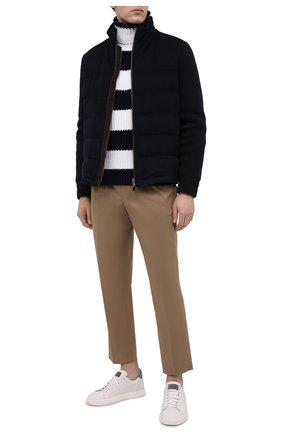 Мужская пуховая куртка ERMENEGILDO ZEGNA темно-синего цвета, арт. U7T02/TMIL14 | Фото 2 (Материал утеплителя: Шерсть; Материал внешний: Шерсть; Рукава: Длинные; Длина (верхняя одежда): Короткие; Мужское Кросс-КТ: Верхняя одежда, Пуховик-верхняя одежда, пуховик-короткий; Стили: Кэжуэл; Кросс-КТ: Пуховик, Куртка)