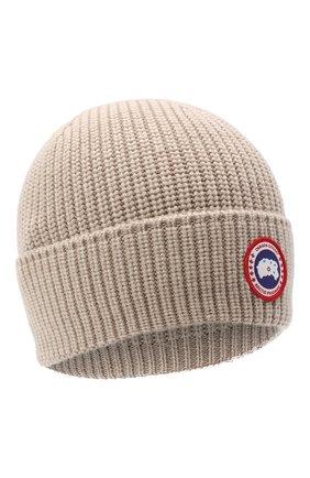 Мужская шерстяная шапка CANADA GOOSE бежевого цвета, арт. 5026M | Фото 1