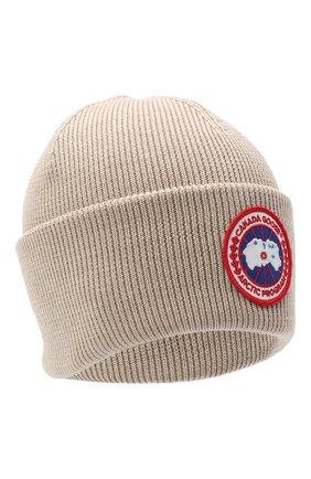 Мужская шерстяная шапка CANADA GOOSE бежевого цвета, арт. 6936M | Фото 1