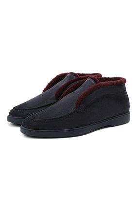Мужские замшевые ботинки SANTONI темно-синего цвета, арт. MGYA16837ABIAPFCU68 | Фото 1