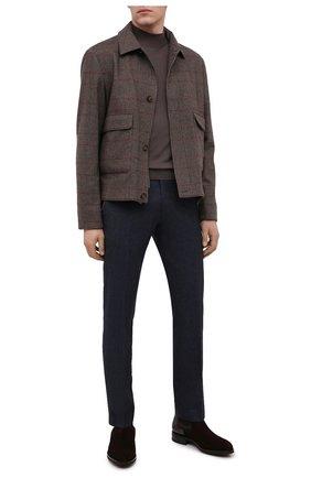 Мужские брюки из шерсти и хлопка BERWICH темно-синего цвета, арт. SC/1 FIBB/GB1748   Фото 2 (Длина (брюки, джинсы): Стандартные; Материал внешний: Шерсть; Материал подклада: Купро; Случай: Повседневный; Стили: Классический)