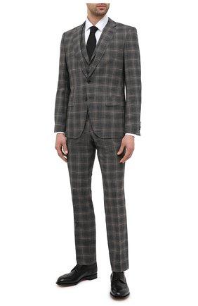 Мужской шерстяной костюм-тройка BOSS серого цвета, арт. 50438423 | Фото 1