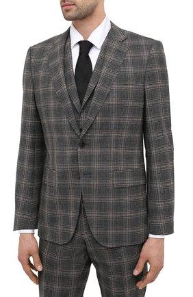 Мужской шерстяной костюм-тройка BOSS серого цвета, арт. 50438423 | Фото 2