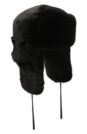 Мужская шапка-ушанка из меха норки KUSSENKOVV черного цвета, арт. 332800002127 | Фото 1