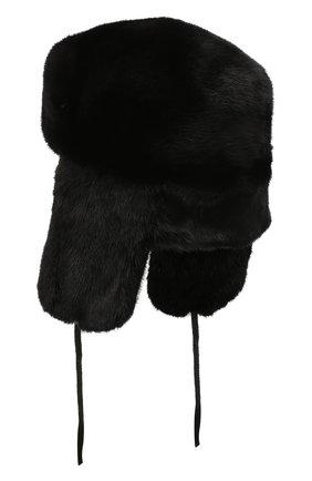 Мужская шапка-ушанка из меха норки KUSSENKOVV черного цвета, арт. 332800002127 | Фото 2