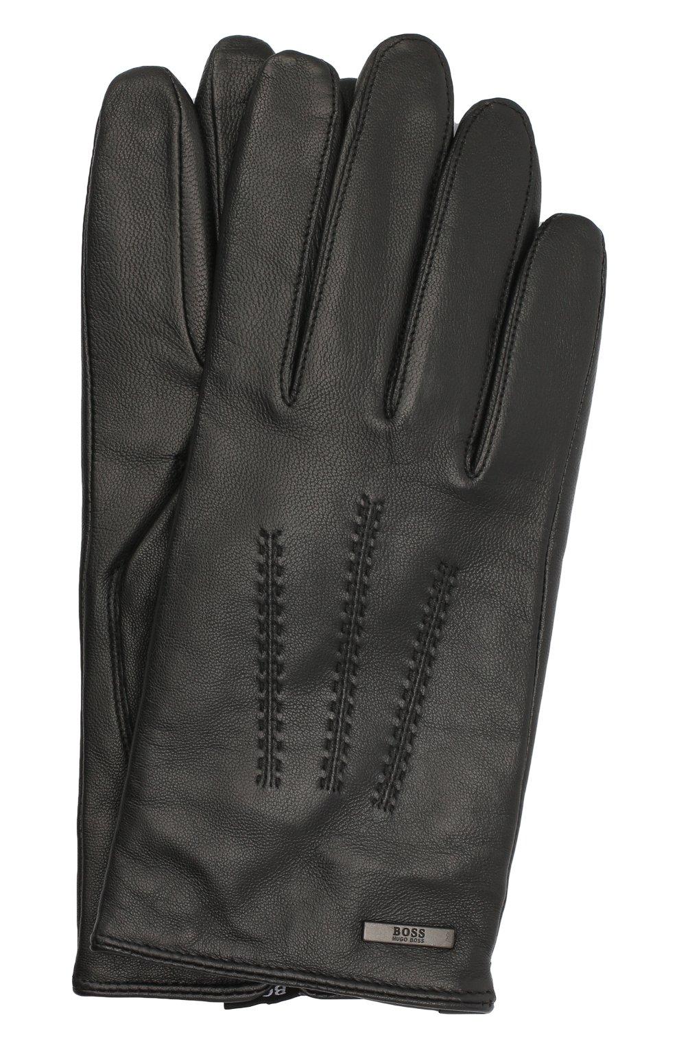 Мужские кожаные перчатки BOSS черного цвета, арт. 50437119   Фото 1
