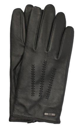 Мужские кожаные перчатки BOSS черного цвета, арт. 50437119 | Фото 1