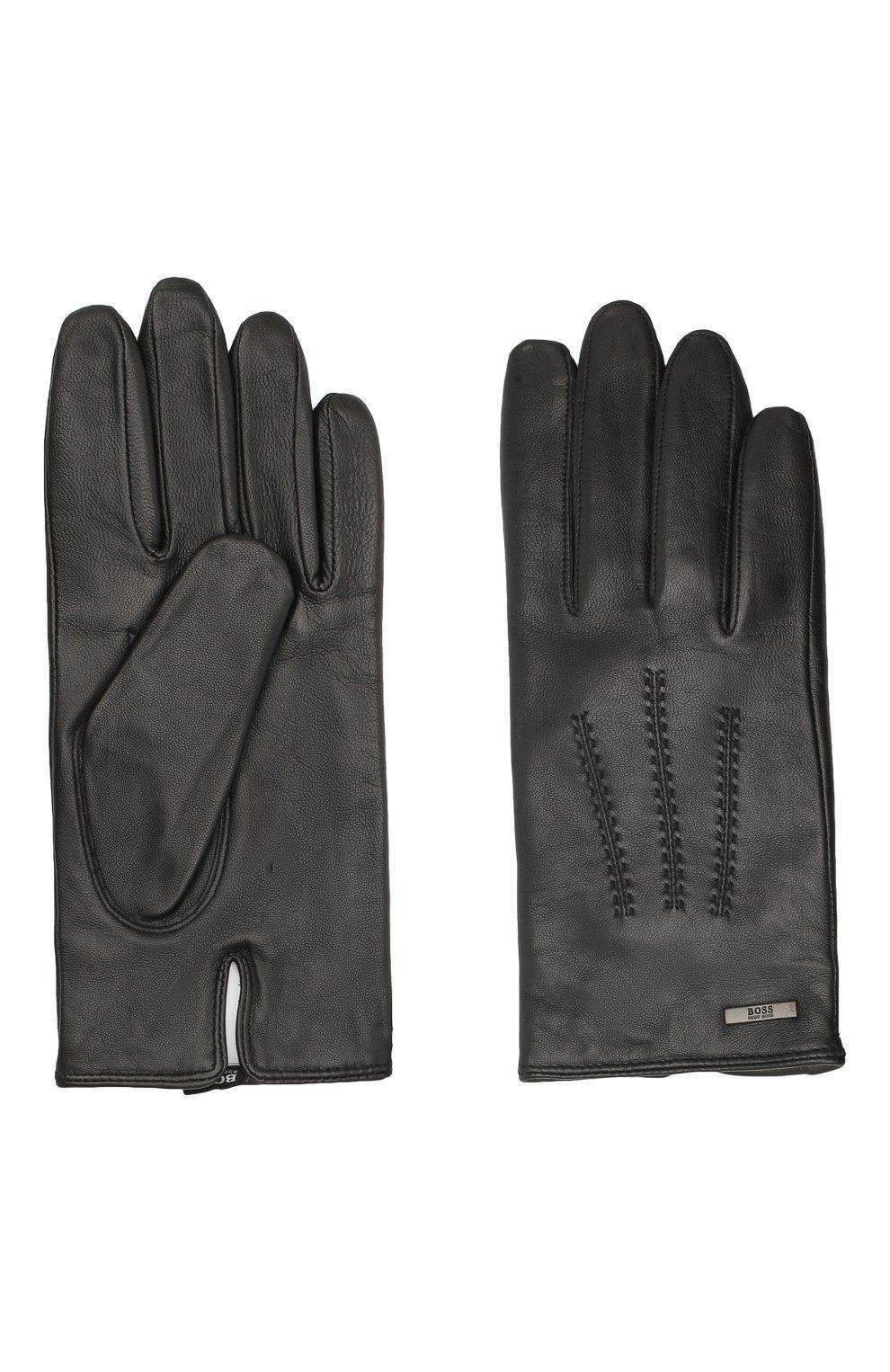 Мужские кожаные перчатки BOSS черного цвета, арт. 50437119   Фото 2