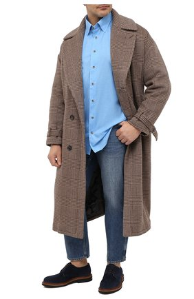 Мужская хлопковая сорочка ETON голубого цвета, арт. 1000 01747 | Фото 2 (Материал внешний: Хлопок; Рукава: Длинные; Рубашки М: Regular Fit; Стили: Классический; Случай: Формальный; Big sizes: Big Sizes; Воротник: Кент)