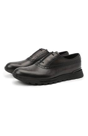 Мужские кожаные кроссовки BERLUTI темно-серого цвета, арт. S3873-023 | Фото 1