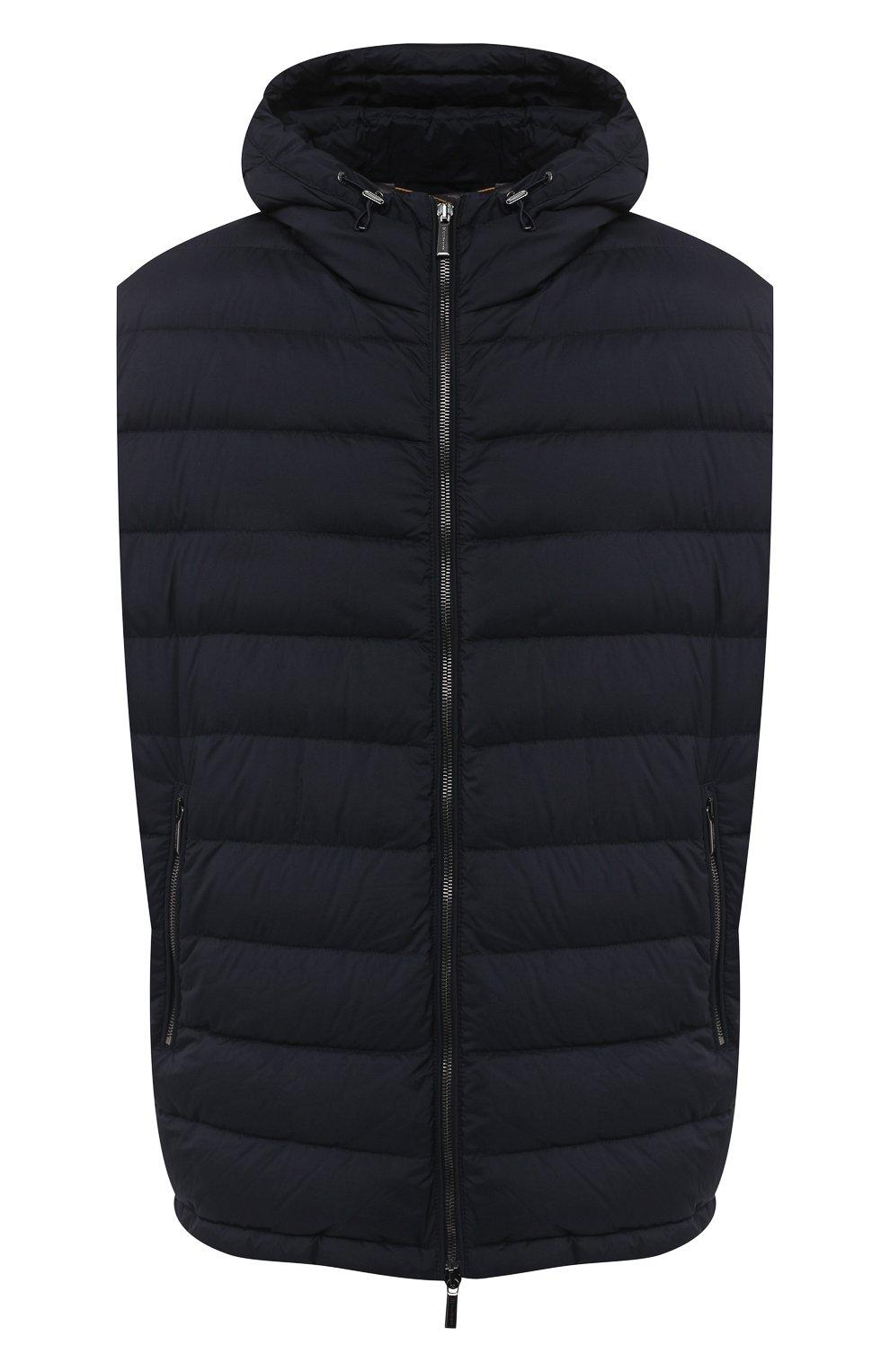 Мужской пуховый жилет blake-s3 MOORER темно-синего цвета, арт. BLAKE-S3/A20M350REFL/60-68 | Фото 1 (Кросс-КТ: Куртка, Пуховик; Big sizes: Big Sizes; Материал внешний: Синтетический материал; Материал подклада: Синтетический материал; Мужское Кросс-КТ: Верхняя одежда; Длина (верхняя одежда): Короткие; Стили: Кэжуэл)