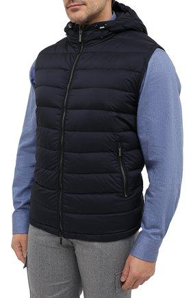 Мужской пуховый жилет blake-s3 MOORER темно-синего цвета, арт. BLAKE-S3/A20M350REFL/60-68 | Фото 3 (Кросс-КТ: Куртка, Пуховик; Big sizes: Big Sizes; Материал внешний: Синтетический материал; Материал подклада: Синтетический материал; Мужское Кросс-КТ: Верхняя одежда; Длина (верхняя одежда): Короткие; Стили: Кэжуэл)