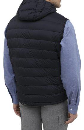 Мужской пуховый жилет blake-s3 MOORER темно-синего цвета, арт. BLAKE-S3/A20M350REFL/60-68 | Фото 4 (Кросс-КТ: Куртка, Пуховик; Big sizes: Big Sizes; Материал внешний: Синтетический материал; Материал подклада: Синтетический материал; Мужское Кросс-КТ: Верхняя одежда; Длина (верхняя одежда): Короткие; Стили: Кэжуэл)