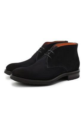 Мужские замшевые ботинки SANTONI темно-синего цвета, арт. MC0S11764UL3IRVLU41 | Фото 1