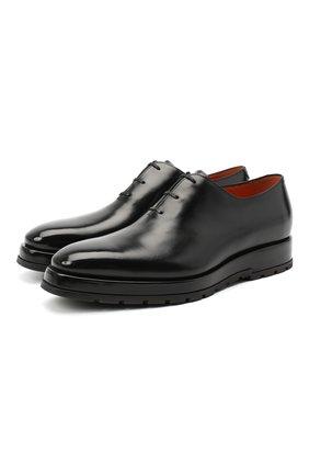 Мужские кожаные оксфорды SANTONI черного цвета, арт. MCLE16882BQ4IVVDN01 | Фото 1