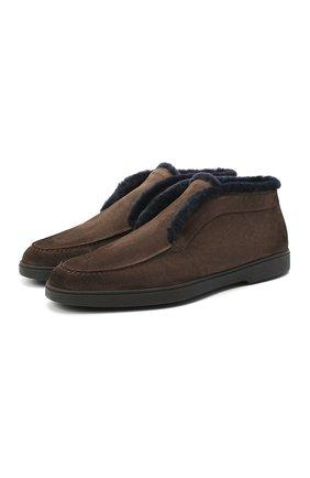 Мужские замшевые ботинки SANTONI темно-коричневого цвета, арт. MGYA16837SM0APFCT55 | Фото 1