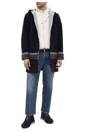 Мужской шерстяное пальто STONE ISLAND темно-синего цвета, арт. 731571252 | Фото 2