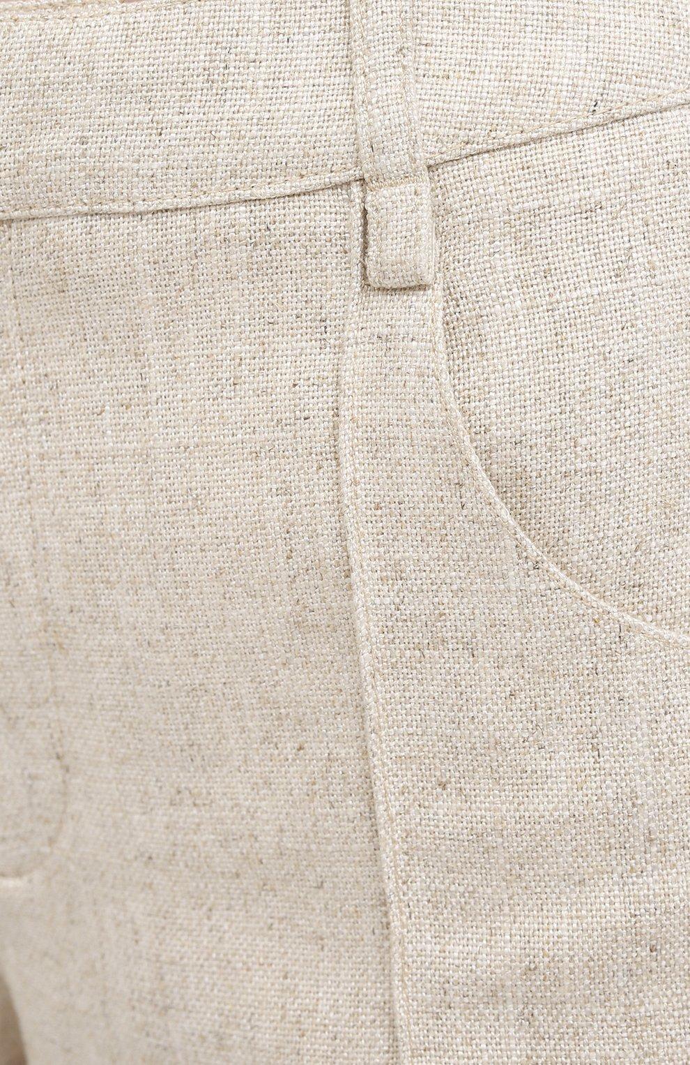Женские шорты из вискозы и льна JACQUEMUS бежевого цвета, арт. 203PA07/124140   Фото 5 (Женское Кросс-КТ: Шорты-одежда; Длина Ж (юбки, платья, шорты): Мини; Стили: Бохо)