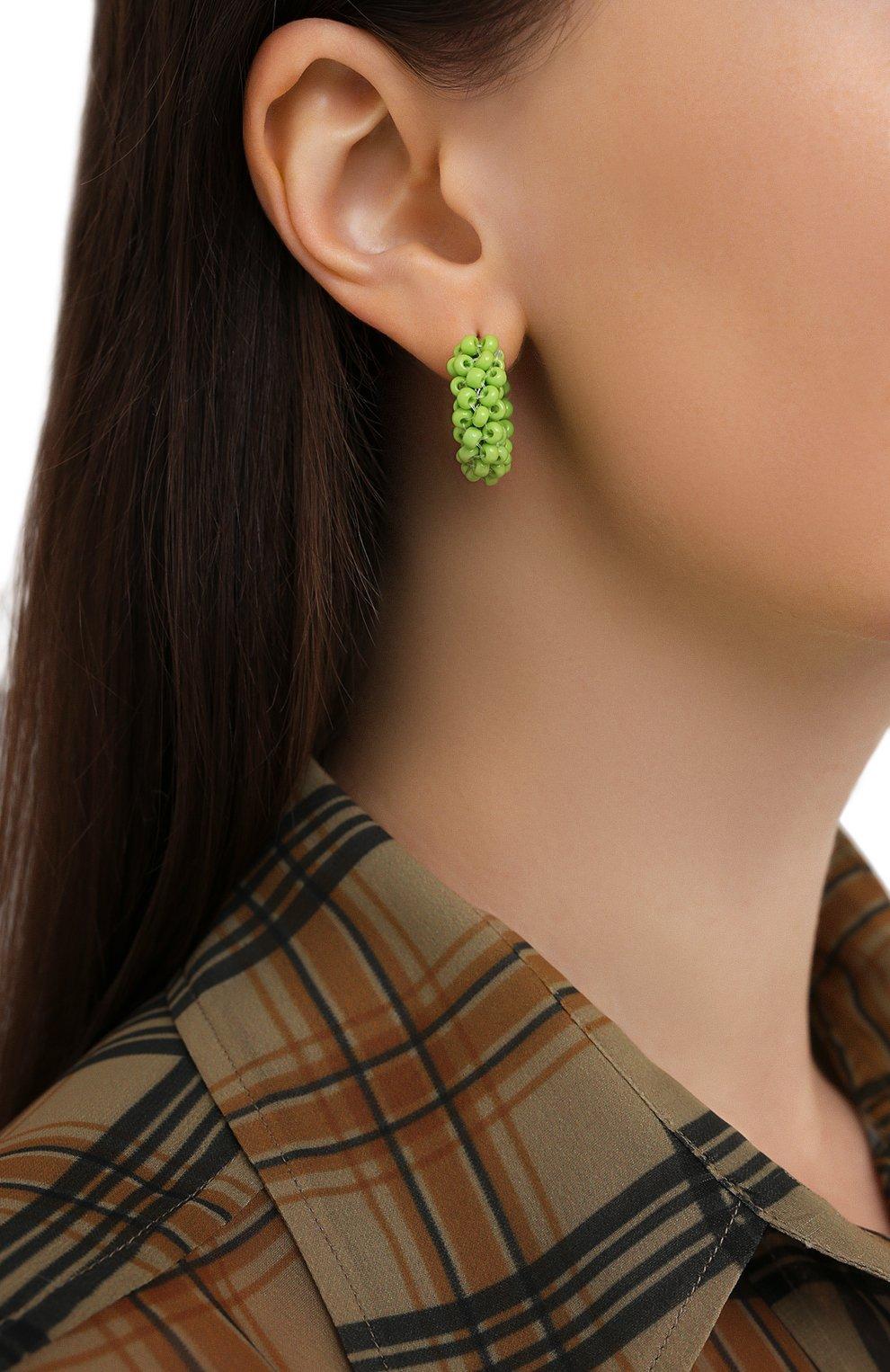 Женские серьги HIAYNDERFYT зеленого цвета, арт. 1405.6   Фото 2 (Материал: Стекло, Металл)