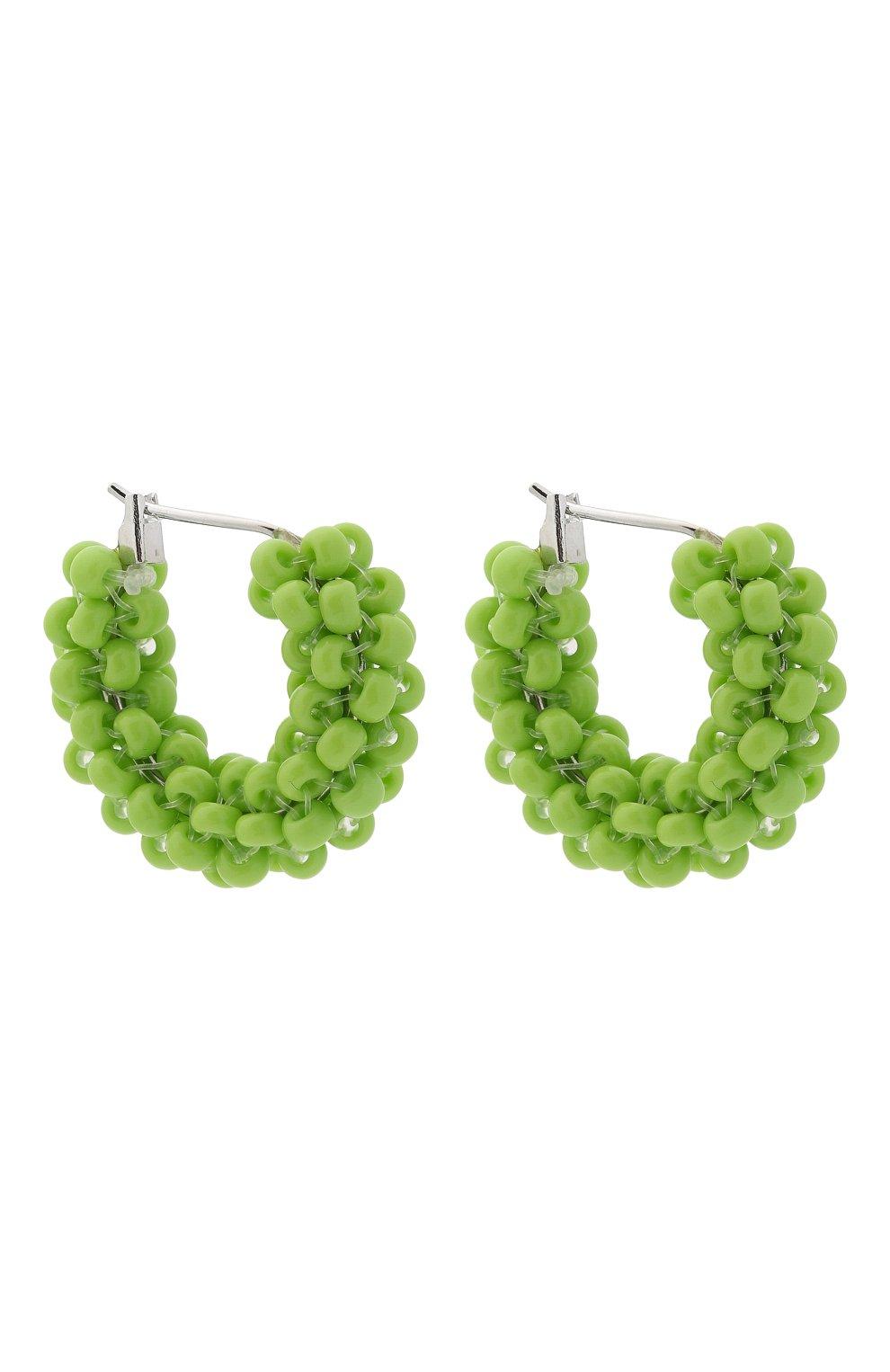 Женские серьги HIAYNDERFYT зеленого цвета, арт. 1405.6   Фото 3 (Материал: Стекло, Металл)