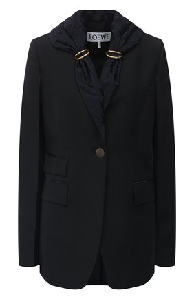 Женский шерстяной жакет LOEWE темно-синего цвета, арт. S540330X83 | Фото 1