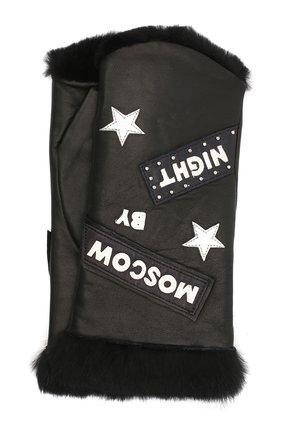Женские кожаные митенки AGNELLE черного цвета, арт. M0SC0WBYNI | Фото 1
